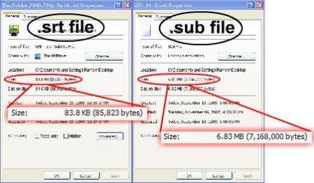 حجم فایل های زیرنویس srt از زیرنویس sub بسیار كمتر است